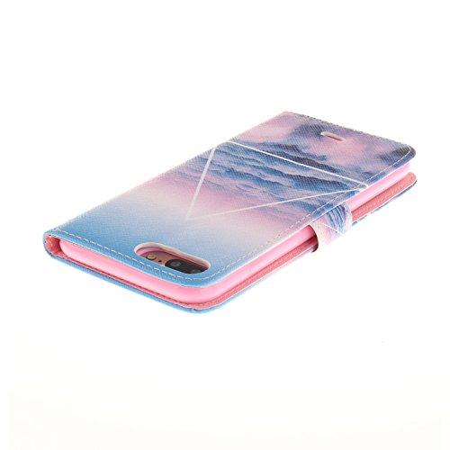 MOONCASE iPhone 7 Plus Étui, [American Flag] Bookstyle Étui Housse en Cuir Case à rabat Coque de Protection Portefeuille TPU Case avec Carte de Crédit Fentes Béquille pour iPhone 7 Plus 5.5 Inch(2016) Blue Sky