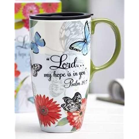 Evergreen Enterprises 74972 Mug-Travel-Butterfly Blessings-Latte Cup With Handle & Gift