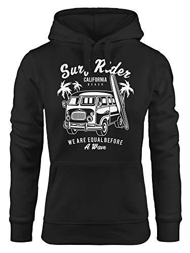 MoonWorks Cooler Hoodie Damen Bus Surfing Retro Sweatshirt Kapuze Kapuzen-Pullover schwarz M - Retro-sweatshirt