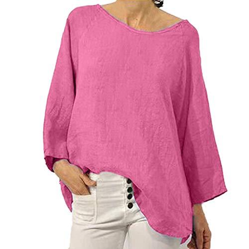 AIni Femmes Robe Eté Robes Longue, Chemise à Manches Fendues en Lin Et Coton De Couleur Unie pour Femme-Robes Uniques (L,Rose)