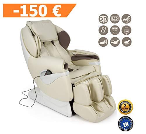 SAMSARA Sillón de masaje 2D - Beige (modelo 2019) - Sillon relax Shiatsu con 5 modos de masaje - Gravedad Cero, presión de aire y calor - USB - Garantía Oficial de 2 AÑOS GLOBAL RELAX® España