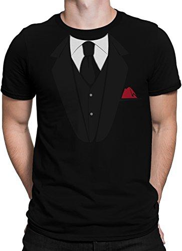 vanVerden Herren Fun T-Shirt Fake Anzug Krawatte Einstecktuch JGA Bräutigam Plus Geschenkkarte, Größe:M, Farbe:Schwarz/Schwarz