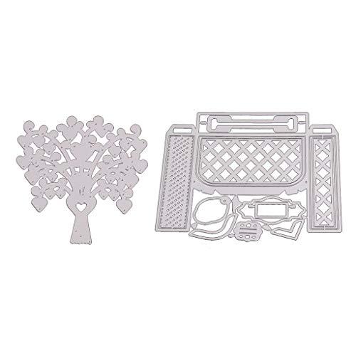 Xurgm - Set di 2 fustelle a forma di albero e scatola per scrapbooking, in metallo, per decorazioni natalizie
