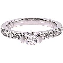Diamond Studs Forever - Anillo de compromiso de diamantes GH/I1 con peso total de 3/4 quilates - Oro blanco de 14K