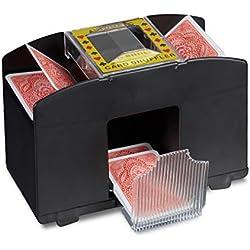 Relaxdays Mélangeur Cartes 4 Machine mixage électronique pour mélangeur Cartes avec Batterie pour Rummy, Poker. Trieur de Carte, Noir