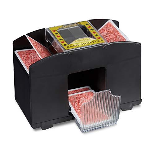 Relaxdays Kartenmischmaschine 4 Decks Elektrische Mischmaschine als Kartenmischgerät batteriebetrieben zum Mischen von Karten beim Pokern, Rommé und Skat auf Knopfdruck Karten sortieren, schwarz