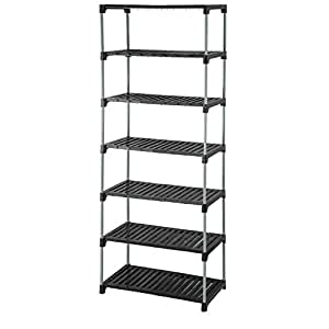 Meded CGS Extra Strong Multipurpose Ace Rack for Shoes, Clothes, Books & Utility Rack, Steel Frame with Plastic Shelves (7 Step Grey w/o Wheels)