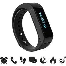endubro i5 plus Fitness Armband - fitness tracker - smart bracelet - Smartwatch für Android Smartphone und iPhone, Schrittzähler, Push-Message und Anrufer - ID Benachrichtigung (Schwarz)