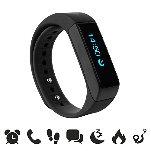 endubro i5 plus Fitness Armband – fitness tracker – smart bracelet – Smartwatch für Android Smartphone und iPhone, Schrittzähler, Push-Message und Anrufer – ID Benachrichtigung (Schwarz)