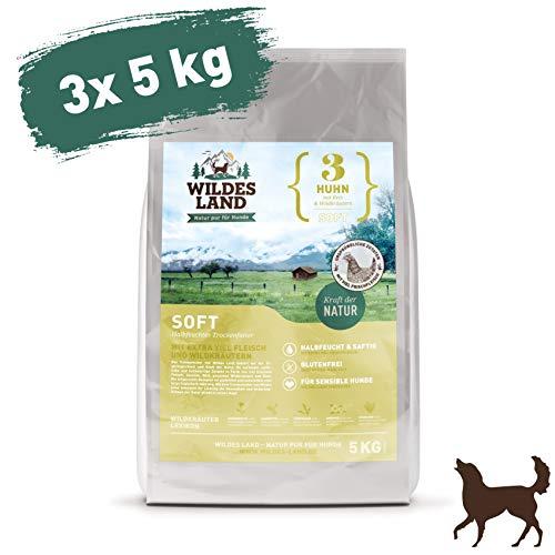 Wildes Land | Halbfeuchtes Trockenfutter für Hunde | Nr. 3 Huhn | 15 kg | mit Reis und Wildkräutern | Glutenfrei | Extra viel Fleisch | Soft Alle Hunderassen | Beste Akzeptanz und Verträglichkeit