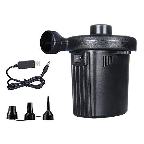 HDZWW Elektrische Luftpumpe, tragbare Schnellfüll-Luftpumpe mit 3 Düsen, perfekte Inflator- / Deflatorpumpen für Camping im Freien, USB-Ladekabel, aufblasbare Kissen, Luftmatratze, Boote, Schwimmring - Inflator Düse