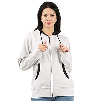 T2F Womens Cotton Hooded Sweatshirt (Grey, L)