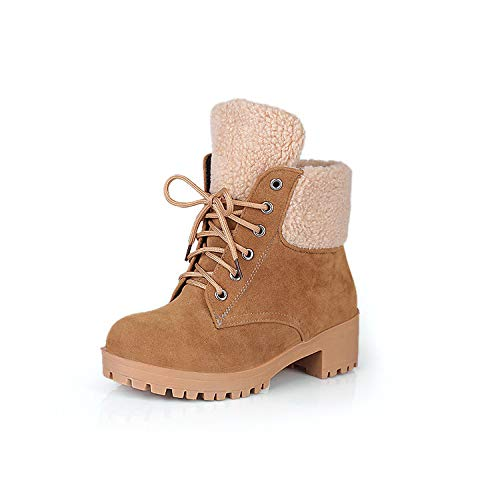 GAOQQ Winter Frauen Stiefel Wide Calf , Wildleder Warme Kunstpelz Gefüttert Schnür Schnee Stiefel, Slouch Reiten Outdoor Schuhe,Khaki-CN42