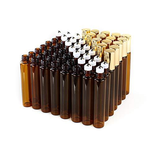 Danmu Art 50Stück 10 ml Metall braun Glas Roller Flaschen, leer nachfüllbar Bernstein Glas ätherisches Öl Flasche mit 2 gratis Pipetten