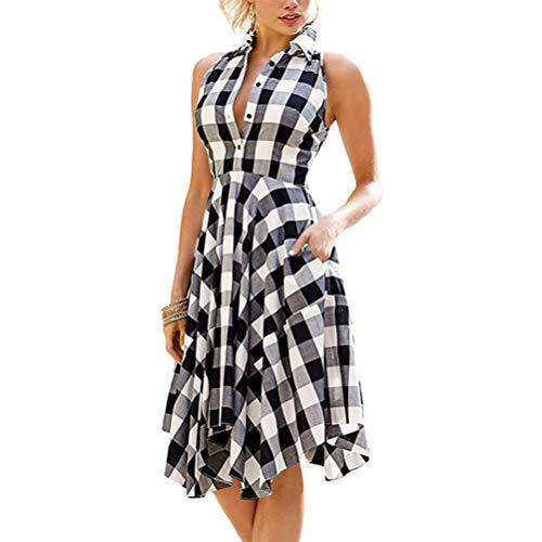 Ann Taylor Kleider (XIGUAK Frauen Sommer Sleeveless Kariertes Hemdkleid UnregelmäßIger Rand Taschen BeiläUfige TäGliche BüRo Figurbetontes Kleid)