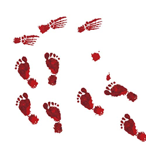 MRULIC 4 Stück Blutige Fußabdrücke Boden klammert Halloween Vampir Zombie Party Decor Aufkleber (23x35cmx4pcs, Rot) (Party Halloween Frankfurt)