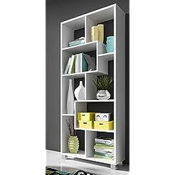 Estantería librería de diseño, Color Blanco Mate, Medidas: 68,5 x 161 x 25 cm