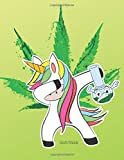 Sketchbook: Cute Kawaii Dabbing Unicorn with Bong Sketchbook for Women. 110 Pages Blank Paper for Doodling, Drawing & Sketching. Funny Unicorn Party ... Idea for Adults & Cannabis and Weed Lover.