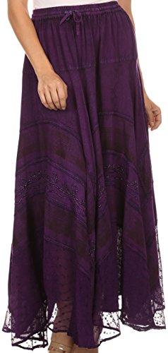Sakkas 15320 - Hailes Long Tall, breit, Silber gestickte Batik justierbare Taille Rock - Purple - OS