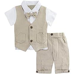 A&J Design Bebé Niño Gentilhombre Raya con Corbata de moño Formal Traje Conjunto (Caqui, 12-18 Meses)