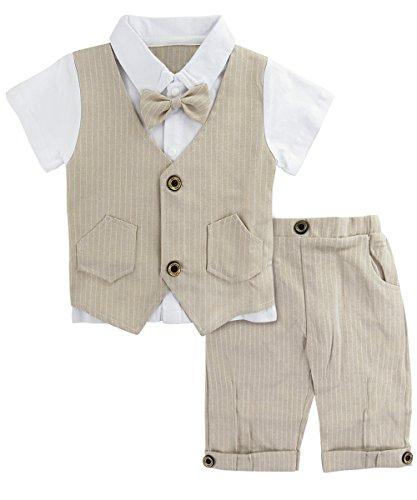 Baumwolle Kleinkind Kleidung (A&J Design Baby Junge Anzug 2 TLG Gentleman Streifen Kleidung kurzen Ärmeln mit Bowtie (Khaki, 12-18 Monate/80))