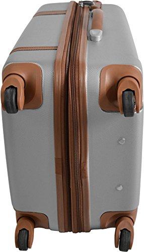 REISEKOFFER REISEKOFFERSET TROLLEY KOFFER 2er oder 3er SET von normani®, 4 kugelgelagerte Leichtlauf-Rollen, 360-Grad-Rollen-System RIBBON/SILBER