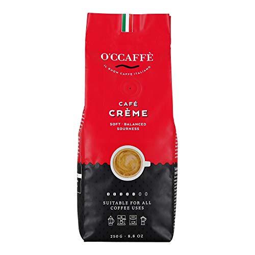 O'ccaffè Café Crème | extra langsame Trommelröstung | aus italienischem Familienbetrieb | säurearmer, aromatischer Kaffee Crema | 250g ganze Bohnen