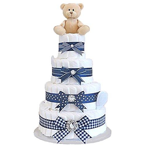 Signature quatre niveaux gâteau de couches bleu marine/Panier/Cadeau bébé/Cadeau de douche NEW ARRIVAL pour bébé/envoi rapide
