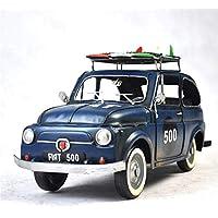 VJUKUBWINE Azul Fiat Coche Modelo Hecho A Mano Antiguo Arte Retro De Hierro Casa Decoración Decoración Decorativos Arreglo Fotografía Apoyos 33 * 14 * 17Cm