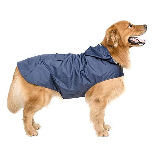 Rejoicing Haustier-Regenmantel mit Kapuze, modisch, wasserdicht, Poncho für große Hunde, dunkelblau, XXX-Large