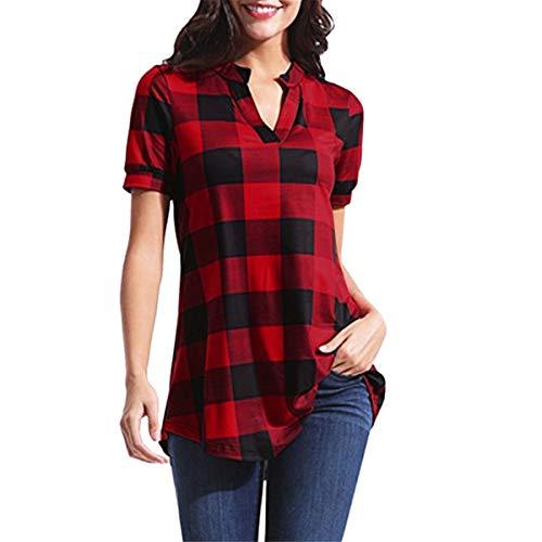 Liusdh Tops für Frauen sexy Casual kariert Bedruckt Kurzarm V-Ausschnitt unregelmäßige Saumbluse T-Shirt Tops Gr. M, rot