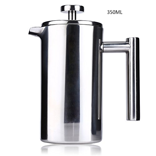 NO.1 COFFEE & TEA PRODUCTS YOOYOO STAINLESS STEEL INSULATED COFFEE TEA MAKER WITH FILTER DOUBLE WALL (350ML) BEST BUY REVIEWS UK