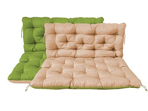 Meerweh Palettenkissen mit Rückenkissen Sitz und Rückenlehne mit Bänder ca. 120 x 140 cm Polsterauflage grün/beige