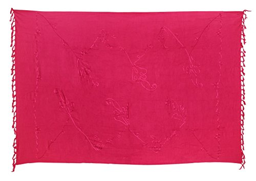 Lila Bestickt Rock (Sarong Pareo Wickelrock Strandtuch Tuch Wickeltuch Handtuch - Blickdicht - ca. 170cm x 110cm - Pink Einfarbig mit Stickerei Handgefertigt inkl. Kokos Schnalle in runder Form)