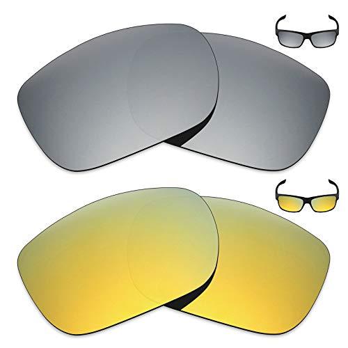 MRY 2Paar Polarisierte Ersatz Gläser für Oakley Twoface Sonnenbrille-Reiche Option Farben, Silver Titanium & 24K Gold