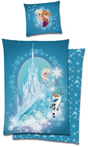 Die Eiskönigin Frozen Bettwäsche 135x200 cm Anna ELSA Olaf blau Biber Baumwolle
