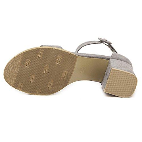 Oasap Women's Open Toe Block Heels Ankle Strap Sandals Black