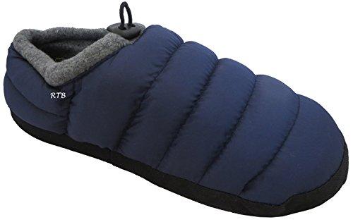 RTB – Chaussons unisexes matelassés chauds, doublure polaire Bleu Marine