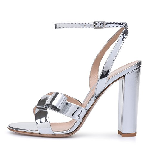 67ee7c03750 XIE Womens Ladies Block High Heel Sandals Silver Platform Strappy Ankle  Strap Peep Toe Party ...