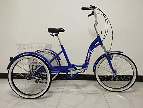 Scout Trikes Erwachsene Dreirad Klapprahmen Front Federung 6-Gang Shimano Gänge - blau