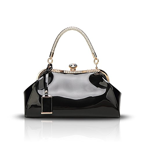 Tisdaini Neue weibliche Handtasche Mode Lackleder lackiert umklammert Schulter Messenger Tasche Freizeit Dame Brieftasche (Damen Neue Mode Tasche)