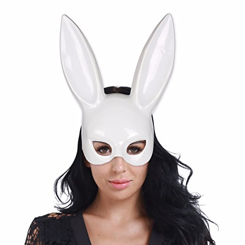 FEESHOW Damen Kaninchen Hase Ohr Maske Maskerade Gesichtsmaske für Halloween Party Club Bars Weiß One (Kaninchen Maske Weiße)