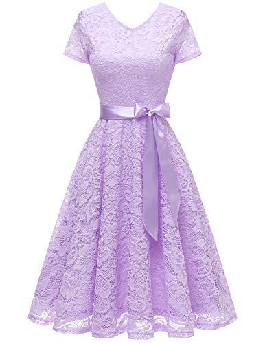 bridesmay Damen 50S Retro Spitzenkleid Kurzarm Elegant Brautjungfernkleid Abendkleider Lavender M