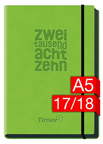 Preisvergleich Produktbild Chäff-Timer Deluxe A5 Kalender 2017/2018 [hellgrün] 18 Monate Juli 2017-Dezember 2018 - Gummiband, Einstecktasche - Terminkalender mit Wochenplaner - Organizer - Wochenkalender