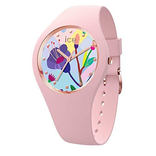 Ice-Watch - Ice Flower Pink garden - Rosa Damenuhr mit Silikonarmband - 016654 (Small)