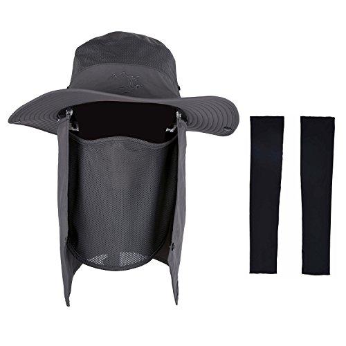 Sombreros, Zoylink Sombrero de pesca al aire libre resistente al sol, aleta de cuello extraíble, mangas de brazo de cubierta para hombre