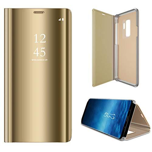 Kompatibel Samsung Galaxy S7 Handyhülle S7 Edge Hülle PU s7 Leder Flip Clear View Schutzhülle Hart Ständer-Funktion Spiegeln Standfunktion Mirror S7edge Hülle Case Cover (S7, Gold)