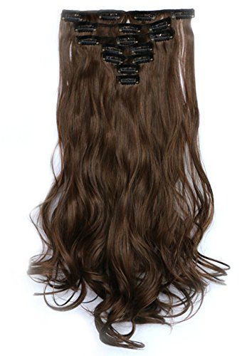 Icegrey 50,8 cm bouclés 3/4 tête complète Extensions de cheveux à clips en Bicolore dégradé