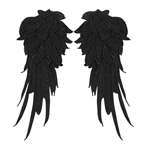 Patch Zurück Kostüm - dPois 1 Paar Engelsflügel Bestickt Nähen Aufkleber Patch Aufkleber Weihnachten Engel Zubehör Karneval Fasching Halloween Kostüm Verkleidung Weinachtskostüm Schwarz A L