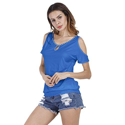Longra Donna O-collare T-shirt casual senza spalline in tutto il fiammifero Blu